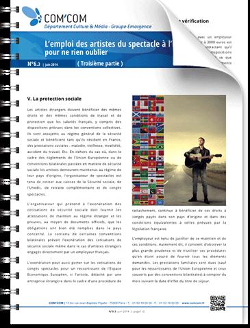 L'emploi des artistes du spectacle à l'international : pour ne rien oublier (3ième partie)