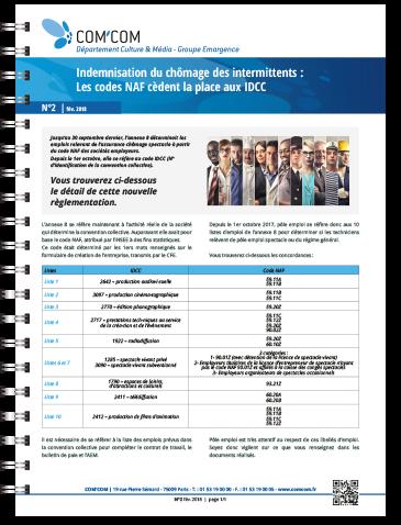 Indemnisation du chômage des intermittents : Les codes NAF cèdent la place aux IDCC